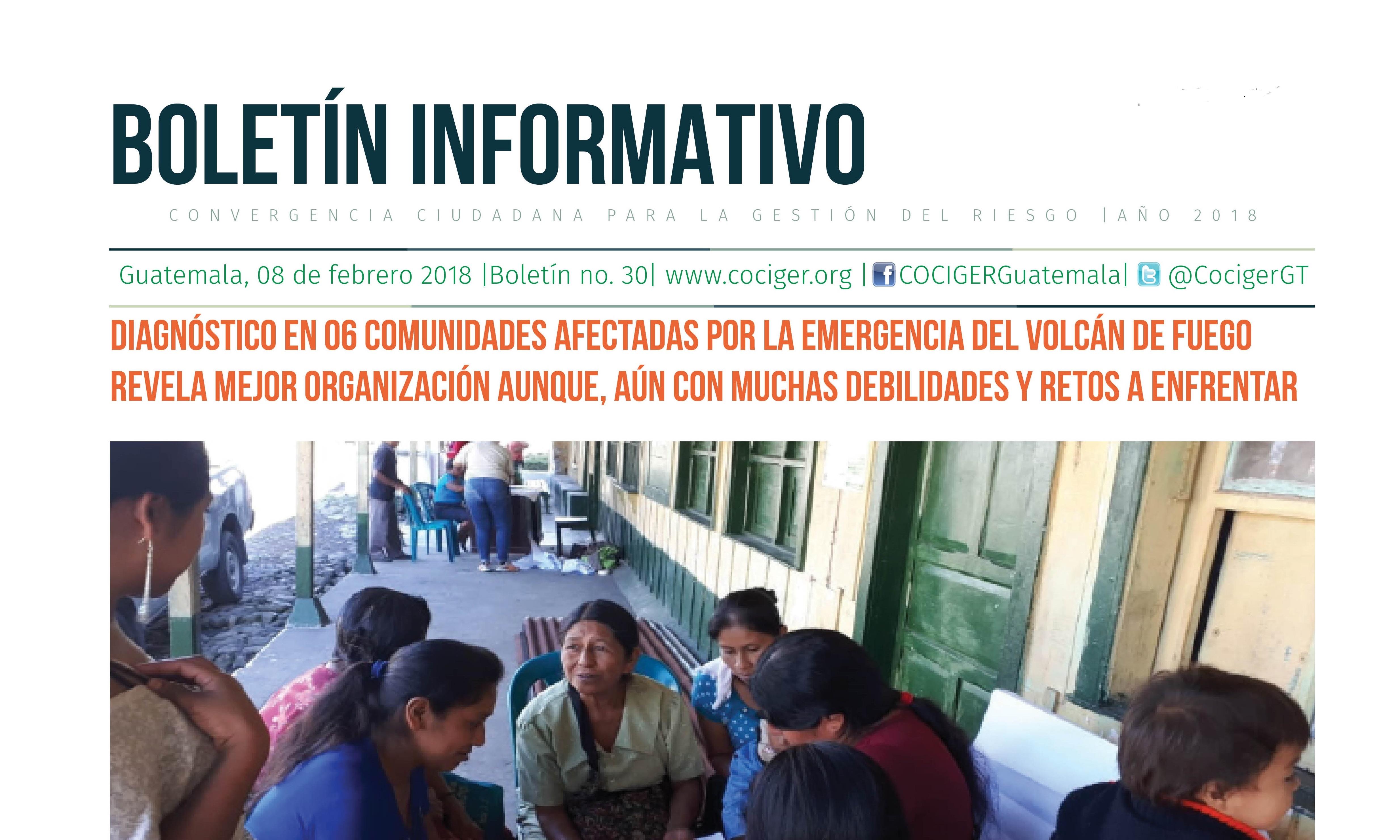 Diagnóstico en 06 comunidades afectadas por la emergencia del volcán de Fuego