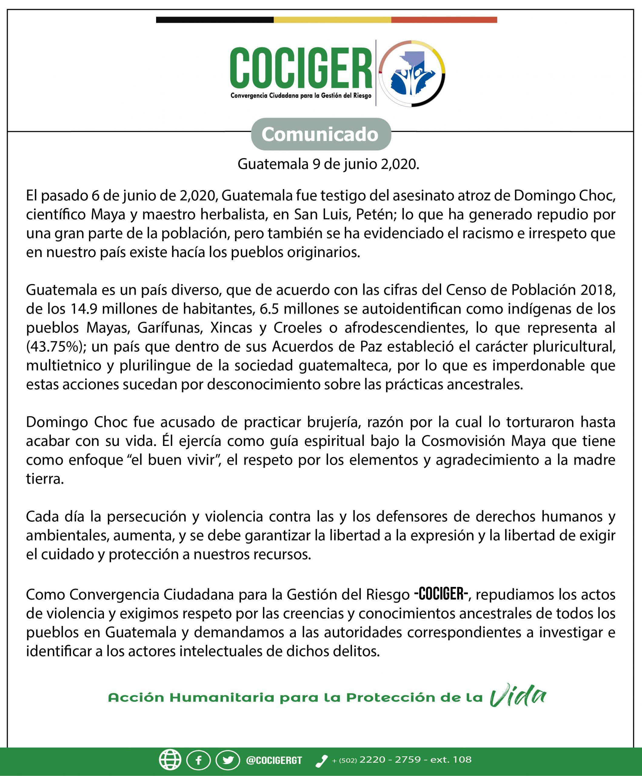 Pronunciamiento de #COCIGER sobre el asesinato de Domingo Choc.